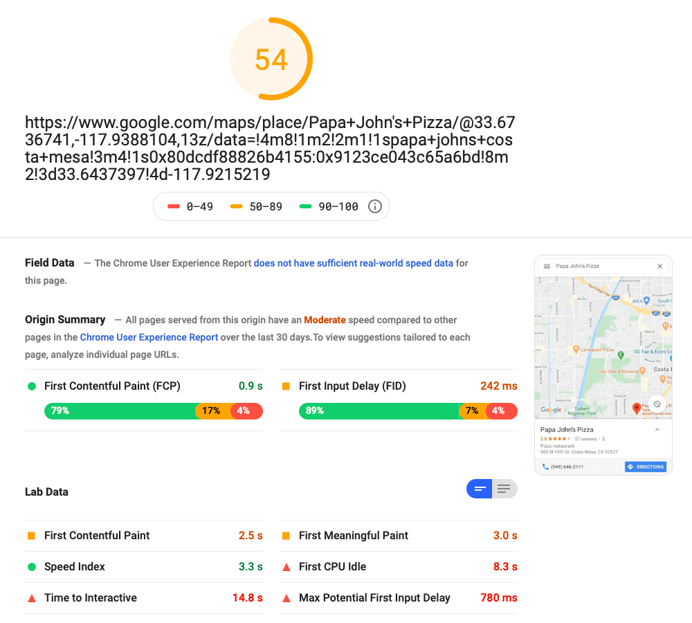 Google Maps Result for Mobile. Taken directly from a Google PageSpeed Insights test created to measure how fast a webpage loads. Google fails miserably on mobile.